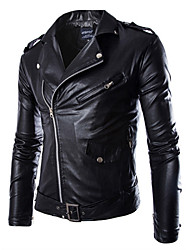 cheap -Men's Sports Punk & Gothic Plus Size Leather Jacket - Solid Colored Stand / Long Sleeve