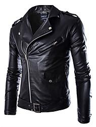 Недорогие -Муж. Спорт Большие размеры Кожаные куртки Воротник-стойка Панк & Готика - Однотонный / Длинный рукав