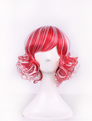 White/red Harajuku Ombre Wig Pelucas Pelo Curly Natural Heat Resistant Anime Cosplay erruque Synthetic Wigs Women hair style