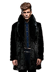 cheap -Men's Formal / Work Vintage / Street chic Coat Solid Peaked Lapel Long Sleeve Winter Faux Fur Black Thick