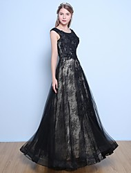 cheap -A-Line Jewel Neck Floor Length Lace Satin Tulle Formal Evening Dress with Beading Flower(s) Sequins by Yaying