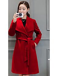 Damen Solide Einfach Lässig/Alltäglich Mantel,Winter Langarm Rot / Lila Dick Wolle