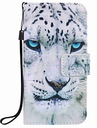 cheap -For Samsung Galaxy J7 J5 (2016) Case Cover White Leopard Painting PU Phone Case J5 J3 G360 G530