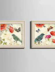 E-HOME® Framed Canvas Art, Butterfly Flowers And Birds Framed Canvas Print Set Of 2