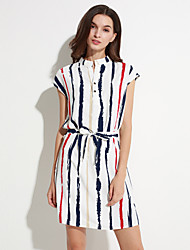 Women's Fine Stripe|Bow Casual/Daily Sexy Shift Dress,Striped Stand Mini Short Sleeve Blue / White Polyester Summer