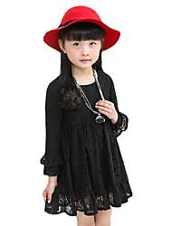 baratos -Menina de Vestido Diário Sólido Primavera Outono Algodão Manga Longa De Renda Preto Vermelho Rosa claro
