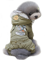 cheap -Dog Coat Hoodie Dog Clothes Police/Military Jade Khaki Cotton Costume For Pets Men's Women's Cosplay Windproof Keep Warm Fashion