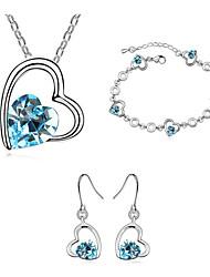 Conjunto de Jóias Cristal Moda Rosa Verde Azul marinho Colares Brincos Bracelete Para Diário 1 Conjunto Presentes de casamento