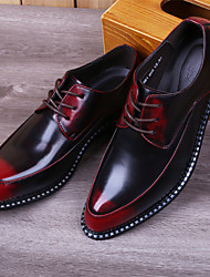 Men's Oxfords Mary Jane Leather Spring Fall Winter Casual Office & Career Mary Jane Lace-up Low Heel Black Light Grey Ruby Bronze1in-1