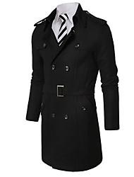 Manteau Pour des hommes Couleur plaine Décontracté / Travail Manches longues Coton Noir / Marron / Gris