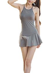 cheap -Women's Fine Stripe Straped One-piece,Lace Up / Cross / Bandage Nylon / Polyester / Spandex Blue / Gray / Light Blue