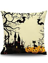 Halloween Pumpkin Castle Square Linen Decorative Throw Pillow Case Cushion Cover