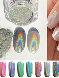 1g/box Colorful Laser Silver Mirror Powder Rainbow Nail Powder Dust Glitter Chrome Pigment Nail Art Sequins