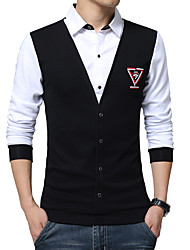 cheap -Men's Fashion Slim Fake Two Long Sleeved ShirtCotton / Spandex Long Sleeve Black / Blue / Red / White / Gray