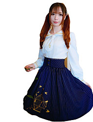 Skirt Sweet Lolita Lolita Cosplay Lolita Dress Blue Red Striped Lace Sleeveless Medium Length Dress For Terylene