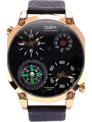 Oulm Pánské Vojenské hodinky Náramkové hodinky Unikátní Creative hodinky Křemenný Teploměr Hodinky s dvojitým časem Kompas Pravá kůže
