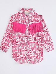 billige -Pige Skjorte Daglig Farveblok, Bomuld Efterår Langærmet Rosa