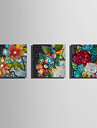 cheap -E-HOME Stretched Canvas Art Flowers Of All Colors Decoration Painting  Set of 3