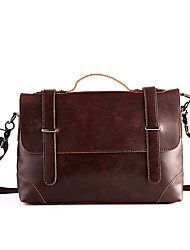 cheap -Men Bags PU leatherette Shoulder Bag Zipper for Casual Office & Career Summer Brown
