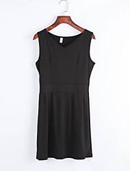 Mulheres Vestido Bainha Simples Sólido Acima do Joelho Decote V Rayon / Poliéster