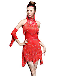 Danse latine Robes Short Femme Spectacle Nylon Chinlon Sans manche Taille haute Robe Gants