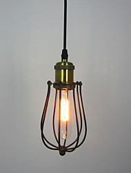 cheap -1 Heads Vintage Industrial Loft Cage Pendant Lights Metal Dining Room Kitchen Cafe Bar Light Fixture
