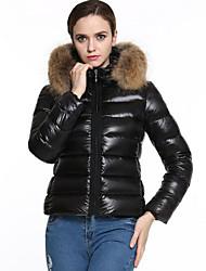 economico -Per donna Tinta unita Vintage Casual Taglie forti Standard Imbottito, Con cappuccio Manica lunga Inverno