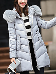 Hot Sale  Women's Long Padded CoatSimple Casual/Daily Solid-Polyester Polyester Long Sleeve Hooded Red / Gray