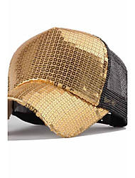 Men And Women Casual Gold Sequins Stitching Breathable Mesh Cap Outdoor Hip-Hop Baseball  Sun Hat