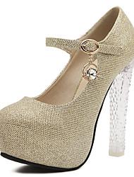 Femme Chaussures Synthétique Printemps Automne Confort Chaussures à Talons Gros Talon Bout rond Strass Pour Or Argent