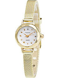 Women's Fashion Quartz Casual Strap Watch Golden Imitation Diamond Little Simple Alloy Belt Round Alloy Dial Wrist Watch Cool Watch Unique Watch