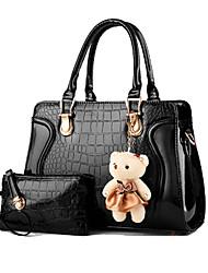 baratos -Mulheres Bolsas Couro Envernizado Conjuntos de saco 2 Pcs Purse Set Khaki / Lilás / Lavanda / Conjuntos de sacolas