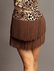 Недорогие -Латино Балетные пачки и юбки Выступление Чинлон С кисточками Средняя талия Юбки