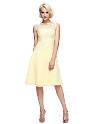 cheap -A-Line Jewel Neck Knee Length Chiffon Mother of the Bride Dress with Sash / Ribbon by LAN TING BRIDE®
