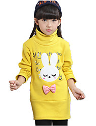 Girl's Wild Cartoon Letter Print Fleece Lined Thickness Hoodie
