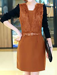 Damen Hülle Kleid-Ausgehen / Übergröße Street Schick Solide Asymmetrisch Übers Knie Langarm Rot / Orange / Lila Polyester HerbstMittlere