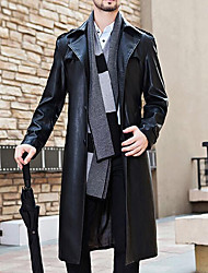 Men's Plus Size / Casual/Daily Simple Trench Coat,Solid Long Sleeve Black Polyester
