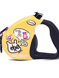 Cachorro Trelas Retratável Desenho Animado Náilon Branco Amarelo