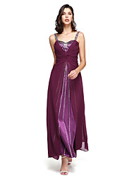 A-Line Straps Floor Length Chiffon Formal Evening Dress with Beading Pleats by TS Couture®