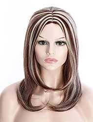 Allaring Feamal Daily Wearing Wig Layer  Light Brown Color Mixed Middle Length Wave Heat Resistant Party Wig