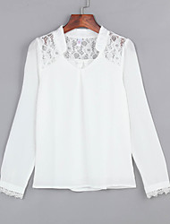 cheap -Women's V Neck Quality Wild Lace Stitching Pierced Chiffon Blouse