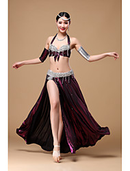 cheap -Belly Dance Outfits Women's Performance Polyester Beading Crystals / Rhinestones Ruffles Sleeveless Dropped Skirt Bra Hip Scarf Bracelets