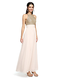 cheap -A-Line Jewel Neck Floor Length Chiffon Sequined Bridesmaid Dress with Ruched by LAN TING BRIDE®