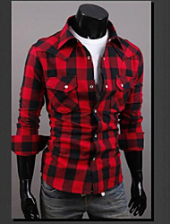cheap -Men's Street chic Cotton Slim Shirt - Plaid Classic Collar / Long Sleeve / This product runs small. Please add two sizes to your normal size when choosing.