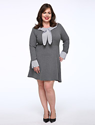 Women's Plus Size / Casual/Daily Simple T Shirt Dress,Solid Round Neck Above Knee Long Sleeve Black / Gray Cotton Autumn Mid Rise