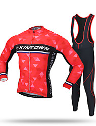 XINTOWN Cycling Jersey with Bib Tights Men's Long Sleeves Bike Pants/Trousers/Overtrousers Tracksuit Zip Top Fleece Jackets Jersey Bib