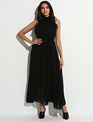 Women's Sexy Casual Party Maxi Inelastic Sleeveless Maxi Dress (Chiffon)