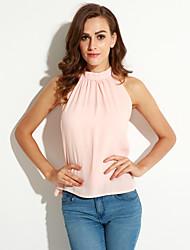 baratos -Mulheres Blusa - Para Noite Moda de Rua Frente Única, Sólido Gola Redonda