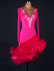 cheap -Latin Dance Dresses Performance Spandex / Lace / Organza Crystals/Rhinestones / Ruffles 1 Piece Long Sleeve High Dress