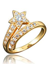 Anel Zircônia cúbica Chapeado Dourado 18K ouro Branco Vermelho Azul Jóias Casamento Festa Diário Casual 1peça